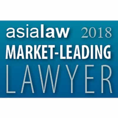 Image of a HK lawyers award badge - The Asialaw Market-Leading Lawyer 2018